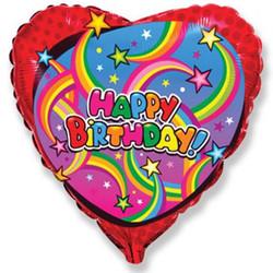 Шар 18'' (45см)  сердце     с днем рождения звезды красный