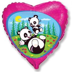 18''(45см) шар   сердце забавная панда фуше