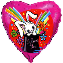 Шар 18'' (45см)  сердце     волшебный кролик красный
