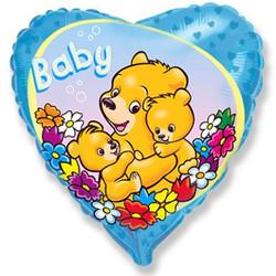 Шар 18'' (45см)  сердце     новорожденный малыш голубой