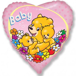 18''(45см) шар   сердце новорожденный малыш розовый