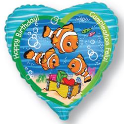 18''(45см) шар   сердце с днем рождения рыба-клоун