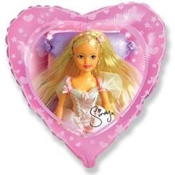 Шар 18'' (45см)  сердце     сказочная синди розовый