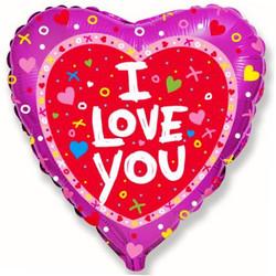 Шар 18'' (45см)  сердце     я люблю тебя красный