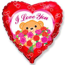 18''(45см) шар   сердце медведь с розами красный