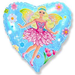 Шар 18'' (45см)  сердце     фея голубой