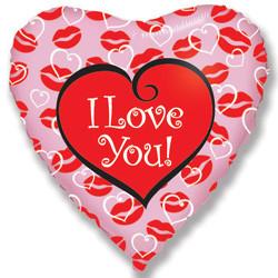 Шар 18'' (45см)  сердце     я люблю тебя поцелуи розовый