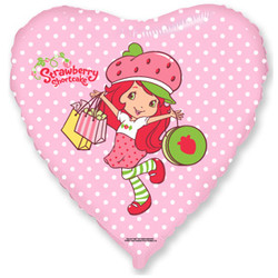 Шар 18'' (45см)  сердце     клубничка с покупками розовый