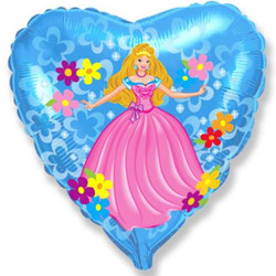 Шар 18'' (45см)  сердце     принцесса голубой