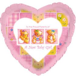 18''(45см) шар   сердце с рождением девочки мишки розовый