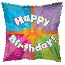 Шар 18'' (45см)  квадрат     с днем рождения подарок