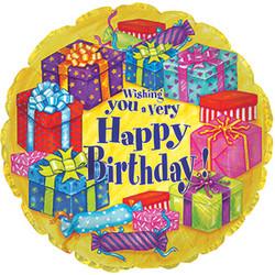 Шар 18'' (45см)  круг     с днем рождения подарки