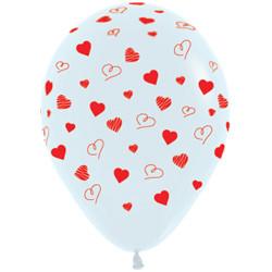 Шар 14'' (36см)     сердечки   пастель