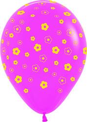 Шар 14'' (36см)     цветы фуше  пастель