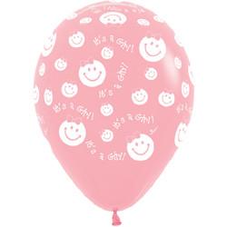 14''(36см) Шар   Улыбка девочка Светло-розовый  пастель