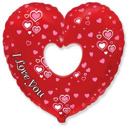 Шар 35'' (88см)  фигура     сердце в сердце бублик