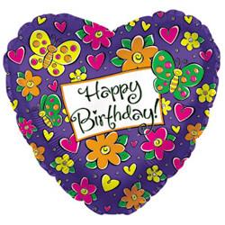 18''(45см) шар   сердце с днем рождения бабочки сиреневый