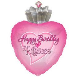 Шар 30'' (76см)  фигура     с днем рождения принцесса розовый