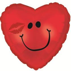 Шар 18'' (45см)  сердце     смайл с поцелуем красный
