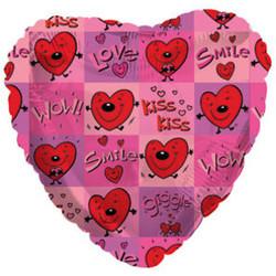 Шар 18'' (45см)  сердце     сердечки с поцелуями розовый