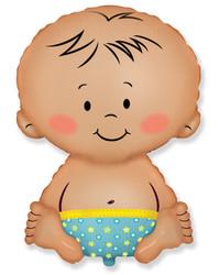 Шар 32'' (81см)  фигура     малыш мальчик голубой