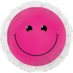 18''(45см) шар   круг смайл неон розовый