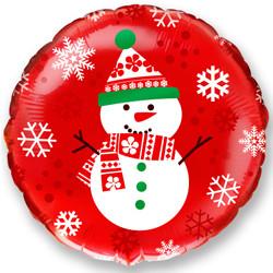 Шар 18'' (45см)  круг     снеговик красный