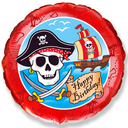 Шар 18'' (45см)  круг     с днем рождения пират  красный