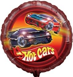 18''(45см) шар   круг горячие машинки красный