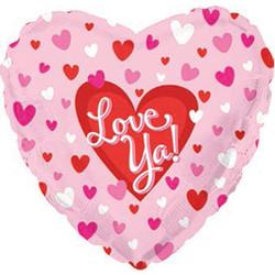 Шар 18'' (45см)  сердце     я люблю тебя маленькие сердечки розовый