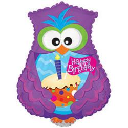 Шар 24'' (60см)  фигура     сова с днем рождения фиолетовый
