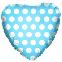 Шар 18'' (45см)  сердце     белые точки голубой