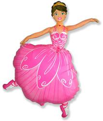 Шар 32'' (81см)  фигура     балерина розовый