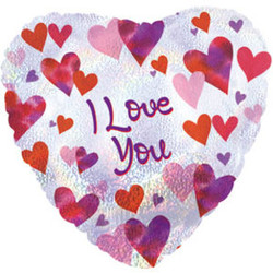 Шар 18'' (45см)  сердце     я люблю тебя разноцветные сердца голография