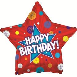 Шар 18'' (45см)  звезда     с днем рождения динамичная  красный
