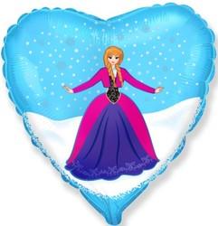 Шар 18'' (45см)  сердце     принцесса алексия голубой