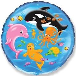 18''(45см) шар   круг подводный мир голубой