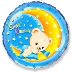 18''(45см) шар   круг сладкие мечты мишки голубой