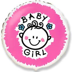 18''(45см) шар   круг малышка-девочка облака розовый