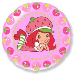 Шар 18'' (45см)  круг     клубничка и ягоды розовый