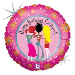 Шар 18'' (45см)  круг     с днем рождения подружка голография
