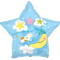 Шар 18'' (45см)  звезда     с рождением мальчик