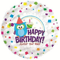Шар 18'' (45см)  круг     с днем рождения мудрая сова серебро