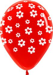 Шар 14'' (36см)     сердце в цветке красный кристалл