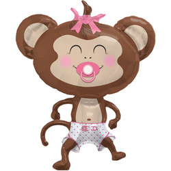 41''(104см) шар   фигура обезьянка девочка коричневый