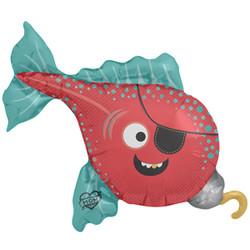 Шар 41'' (104см)  фигура     рыба пират красный
