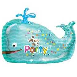 36''(91см) шар   фигура кит голубой