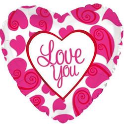 Шар 18'' (45см)  сердце     я люблю тебя неоновые сердца белый