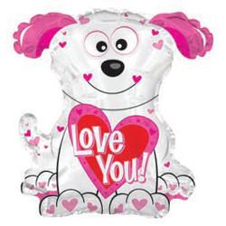 Шар 22'' (55см)  фигура     собака с сердцем белый