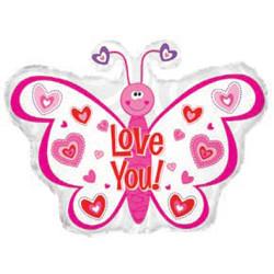 Шар 22'' (55см)  фигура     бабочка признается в любви белый
